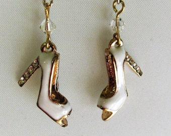 White High Heel Shoes With Rhinestones on the Heels Earrings