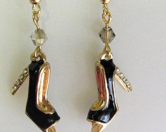 Black High Heel Shoes with Rhinestones on the Heel Earrings