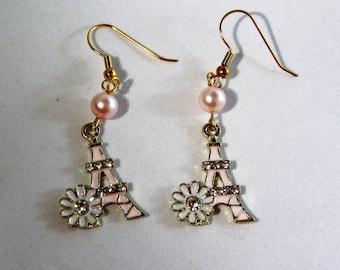 Flowers by the Eiffel Tower Earrings