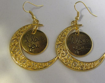 Crescent Moon With A I Love You Charm Earrings