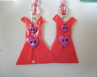 Origami Little Red Dress with heart buttons