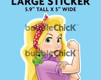 Large Rapunzel Riveter Sticker Disney Princess Sticker Tangled Sticker Strong Girl Sticker Rosie Riveter Sticker