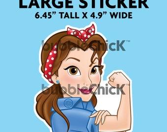 Large Belle Riveter Sticker Disney Princess Sticker Beauty and the Beast Sticker Strong Girl Sticker Rosie Riveter Sticker