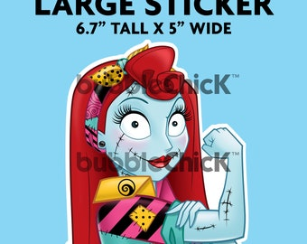 Large Sally Riveter Sticker Nightmare Before Christmas Sticker Strong Girl Sticker Rosie Riveter Sticker