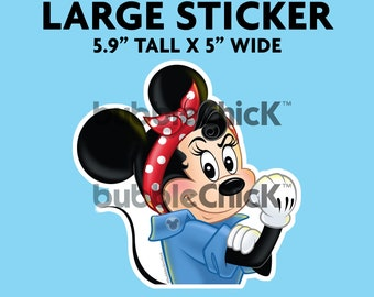 Large Minnie Mouse Riveter Sticker Strong Girl Sticker Rosie Riveter Sticker