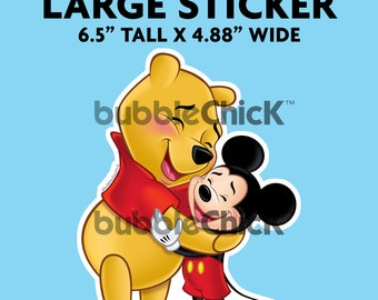 Large Mickey Mouse Winnie the Pooh Sticker Mickey Mouse Winnie Hug Sticker Winnie the Pooh Sticker