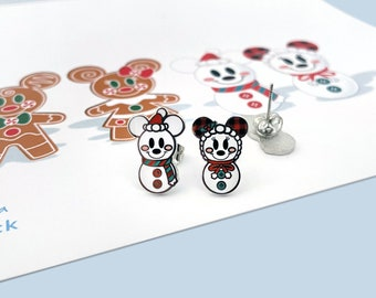 Snowman and Snowwoman Earrings Mickey and Minnie Earrings Holiday Earrings