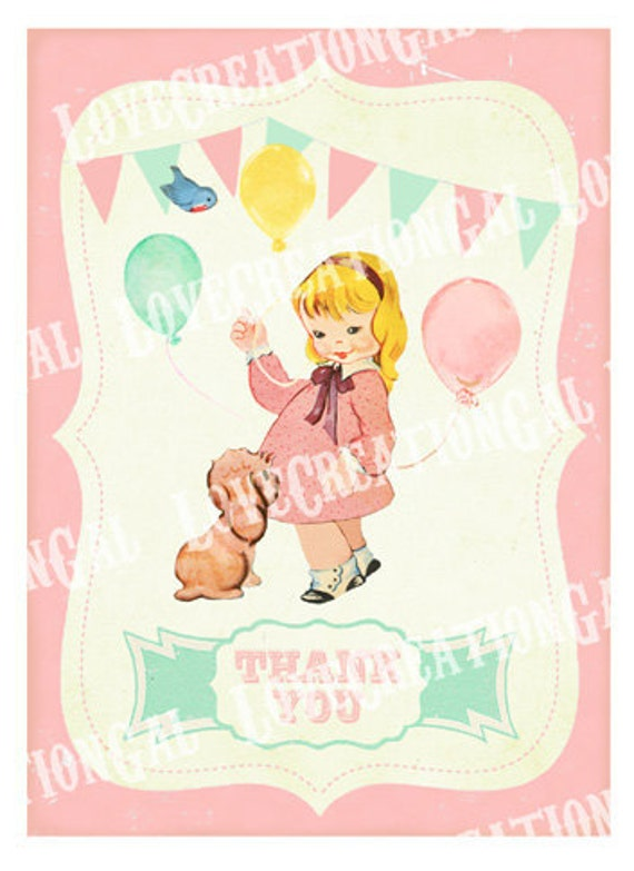Postcard Style {K9} Boys//Girls Personalised Childrens Birthday Thank You Cards