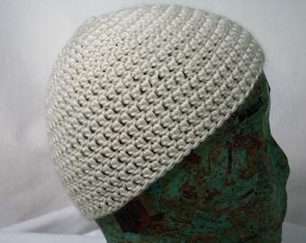 Crocheted Wool Beanie White