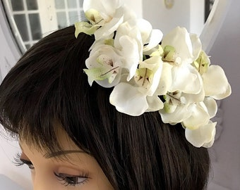 Ivory Real Touch Orchid Wedding Hair Comb OOAK