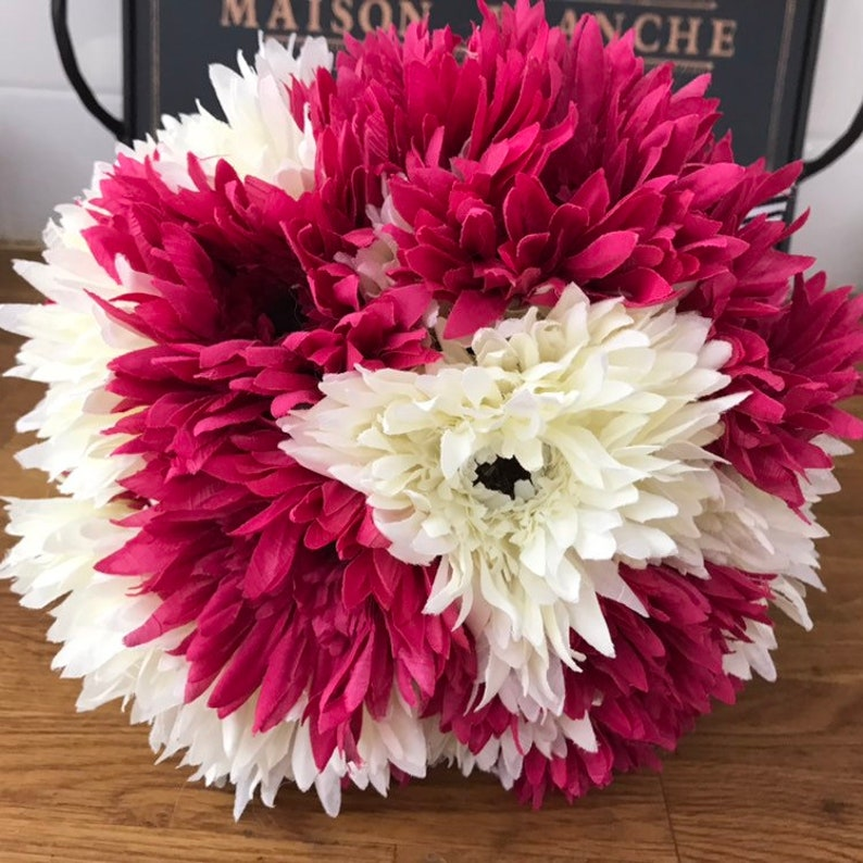White and Fuchsia Pink Large Gerbera Daisy Bouquet OOAK ready to ship