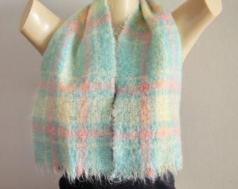 72092484f062 Pastel Plaid Mohair Scarf Scotland Warm Soft Winter Scarf