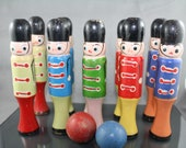 Antique Wood Skittles Toy Soldiers Bowling Set 10 Pins 2 Balls