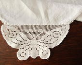 Linen Tablecloth Crocheted Butterflies Corners Vintage White 34 quot Square