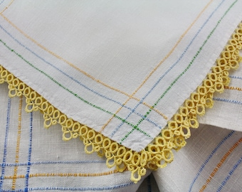Linen Table Topper Small Tablecloth with 3 Matching Napkins Hand Woven Tatting Edges
