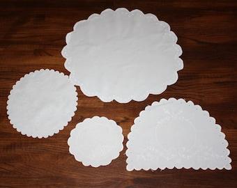 Doily Lot 4 Vintage Embroidered Doilies Linen Cotton Handmade Boudoir Pillow Centerpiece
