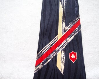 Swanky Vintage Skinny Tie Silky Rayon Damask Abstract Park Lane