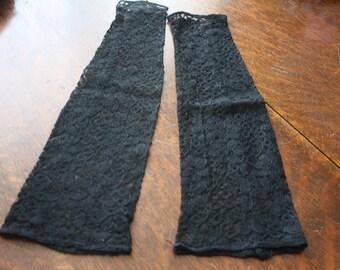 Black Lace Long Gauntlets Fingerless Gloves Evening Full Arm 1930s-40s