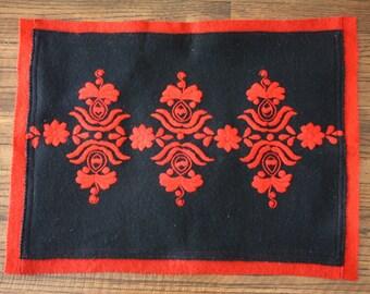 Hungarian Felt Matyo Embroidered Pillow Cover Folk Art Red Black