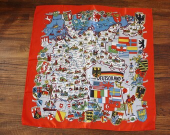 Vintage Souvenir Scarf Silk Germany Deutschland Travel Scarf