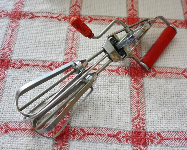 Vintage Rotary Egg Beater Hand Mixer Red Handle Maynard