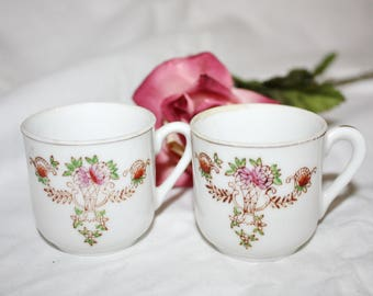2 Antique Doll  Cups Mugs Miniature Fine China Made in Japan 1920s Play Dishes