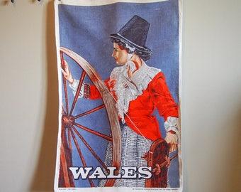 Wales Tea Towel Folk Costume Souvenir Linen