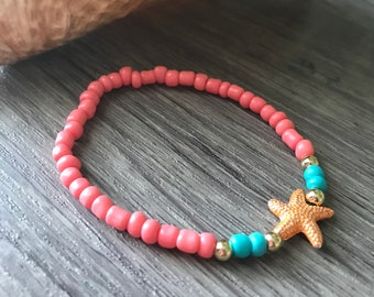 Coral and teal starfish bracelet