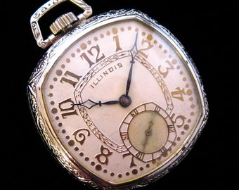 UNUSUAL Illinois Pocket Watch - c.1924 - Gold Plated Fittings