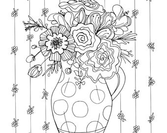 Pitcher of Flowers Coloring Page