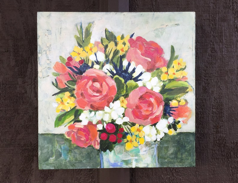 Peach Rose Bouquet in Mixed Media Painted Floral Arrangement image 0