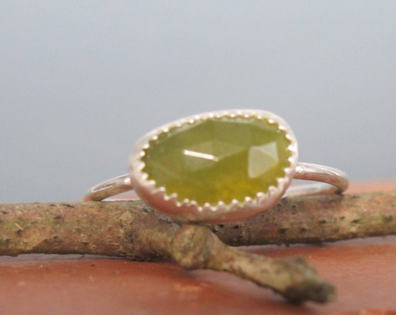 Rose Cut Vesuvianite and Sterling Silver Stacking Ring Size 8