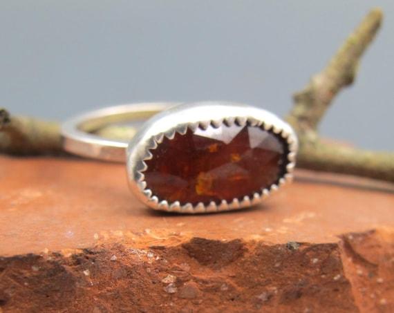 Handmade Orange Kyanite and Sterling Silver Stacking Ring