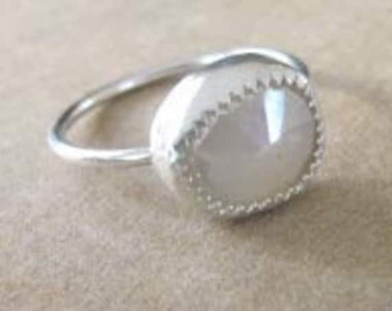 Rose Cut Moonstone and Sterling Silver Stacking Ring Size