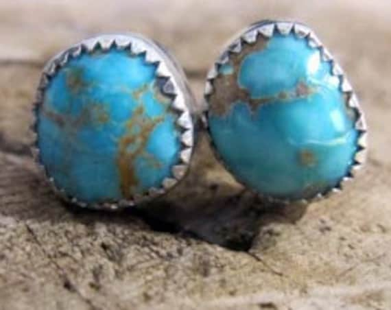 Nevada Turquoise Handmade Sterling Silver Stud Earrings