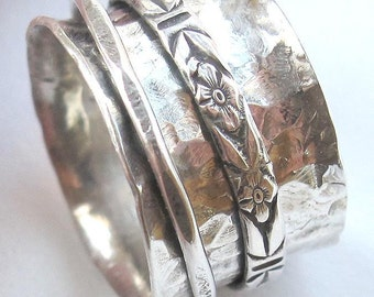 Forged Sterling Silver Spinning Ring made to order