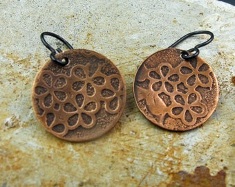 Etched Copper Earrings  Handmade