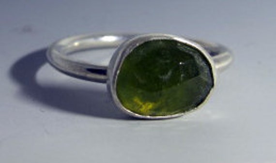 Rose Cut Vesuvianite and Sterling Silver Stacking Ring Size 8.5