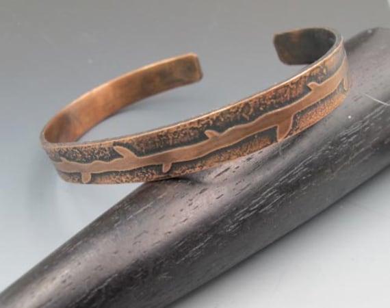 Etched Copper Vine Cuff Bracelet