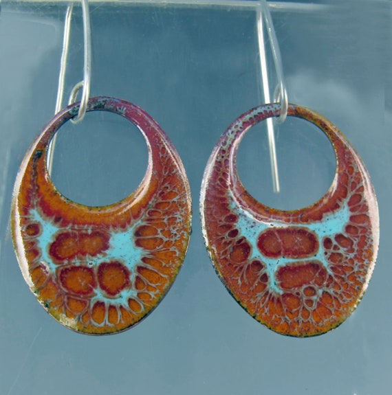 Turquoise and Umber Copper Enamel  Earrings