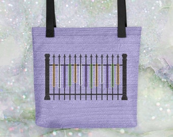 Mardi Gras Bling - Beads on Wrought Iron Fence in New Orleans Tote Bag