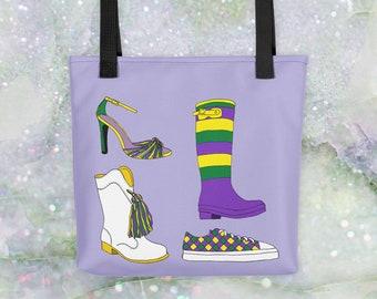 Mardi Gras Shoes Tote Bag for Throws Parade Supplies