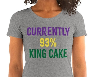 Currently 93% King Cake Ladies' Mardi Gras Short Sleeve Tri-Blend T-Shirt