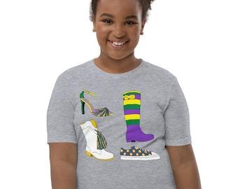 Mardi Gras Shoes Youth Short Sleeve T-Shirt - Kids New Orleans Parade Shirt