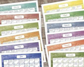 SALE!! 12-Month Declutter Calendar - INSTANT DOWNLOAD - Barnwood Design, Print a New Copy Each Year, Get Organized