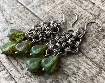 DRYAD WARRIOR - silver chain mail earrings with mossy green glass
