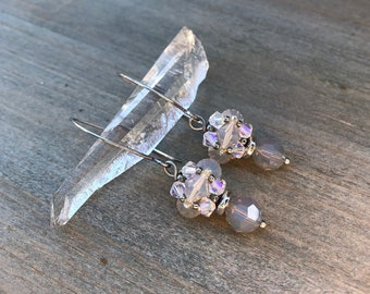 LONG LANTERN DROPS : smoke rings - grey crystal earrings with Swarovski crystal and handwrought sterling silver ear wires