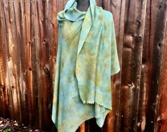 Teal Blue Indigo Pashmina Botanical print\ Eco Print Wrap | Natural dyed Indigo Scarf with Real Leaf Prints | OOAK