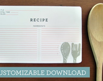 Customizable Printable-Spoon and Fork Recipe Card-Instant Download