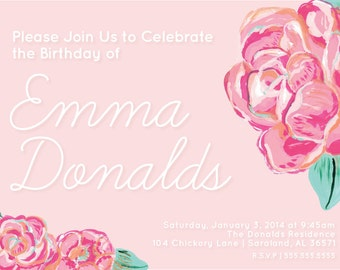 Floral Birthday Invitation | Printable Party Invitation | digital pdf file | Pink + Mint